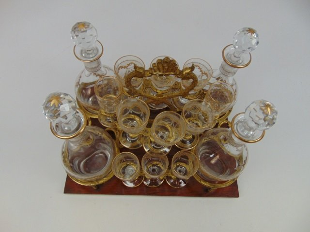Antique French Gilt Decorated Glass Tantalus Set - 6