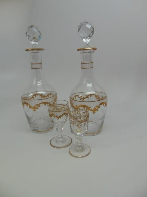 Antique French Gilt Decorated Glass Tantalus Set - 7
