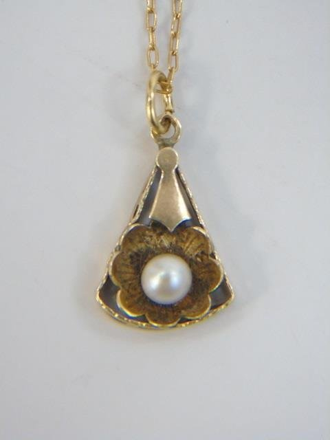 Estate Antique 14kt Gold & Pearl Necklace Pendant