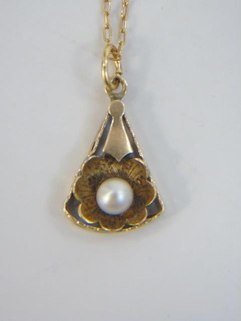 Estate Antique 14kt Gold & Pearl Necklace Pendant - 5