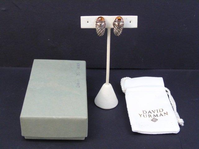 David Yurman Citrine Sterling & Gold Earrings
