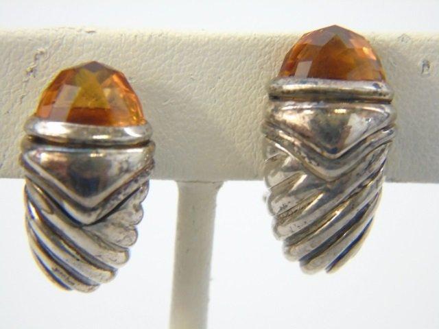 David Yurman Citrine Sterling & Gold Earrings - 2