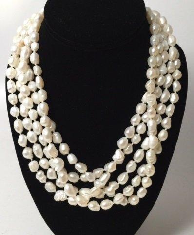100 Inch White Baroque Pearl Necklace Strand