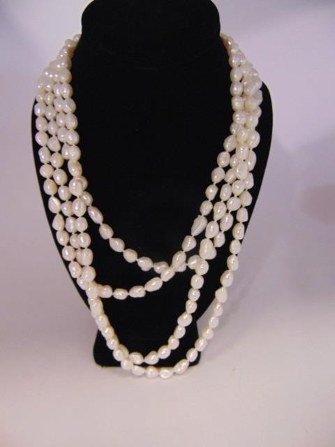 100 Inch White Baroque Pearl Necklace Strand - 2