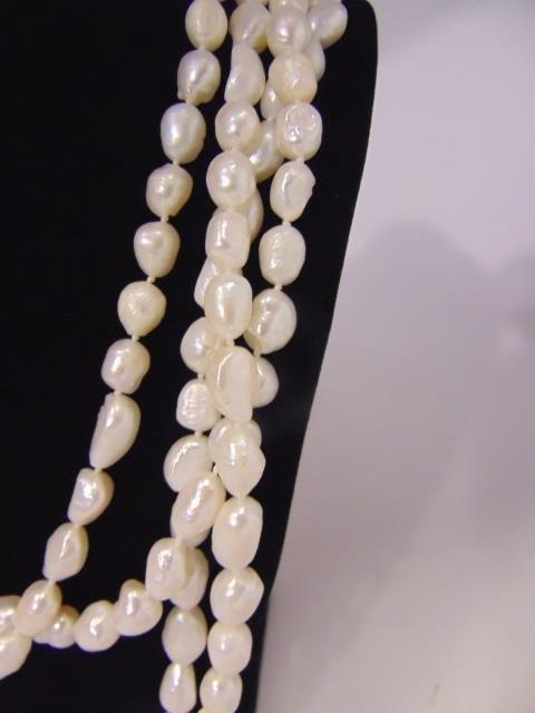 100 Inch White Baroque Pearl Necklace Strand - 3