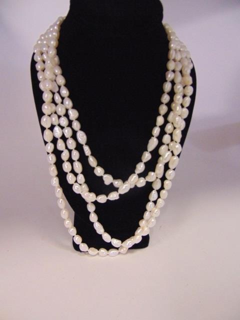 100 Inch White Baroque Pearl Necklace Strand - 4