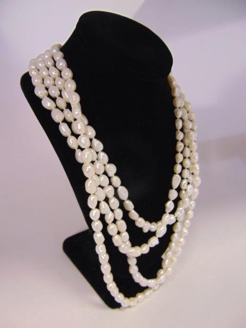 100 Inch White Baroque Pearl Necklace Strand - 5