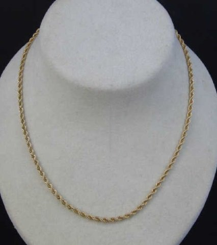Vintage 14kt Yellow Gold Rope Motif Necklace Chain