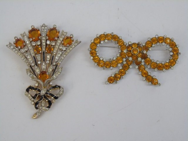 Two Large Vintage Trifari Rhinestone Brooch Pins