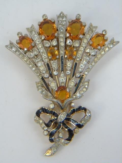Two Large Vintage Trifari Rhinestone Brooch Pins - 3