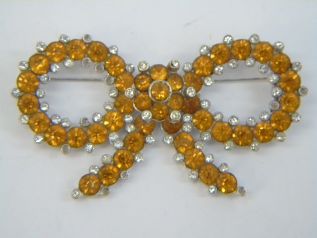 Two Large Vintage Trifari Rhinestone Brooch Pins - 6