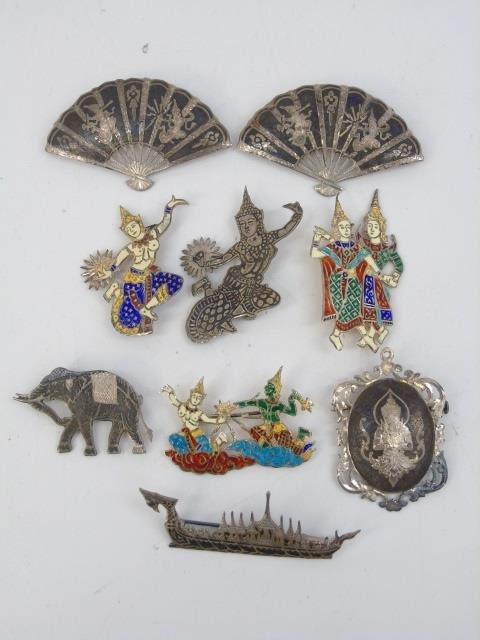 Estate Siam & Tahitian Sterling Enamel Brooch Pins