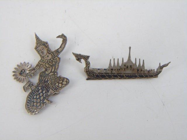 Estate Siam & Tahitian Sterling Enamel Brooch Pins - 3