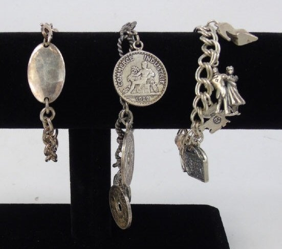 3 Vintage Sterling Silver Charm & Coin Bracelets