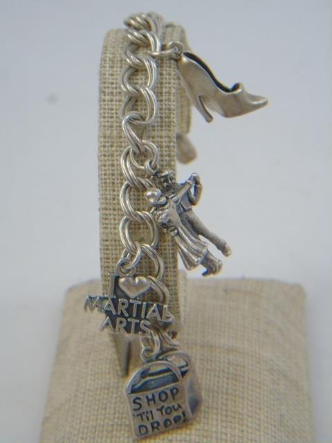 3 Vintage Sterling Silver Charm & Coin Bracelets - 3