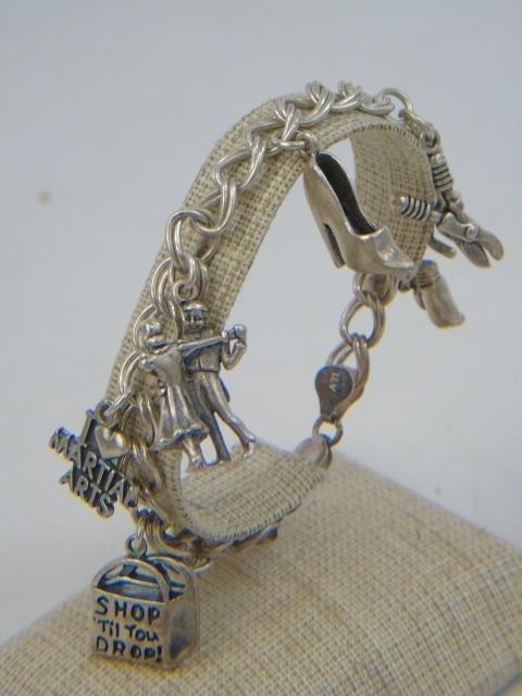3 Vintage Sterling Silver Charm & Coin Bracelets - 4