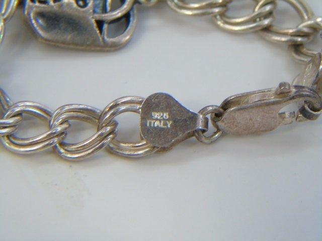 3 Vintage Sterling Silver Charm & Coin Bracelets - 5