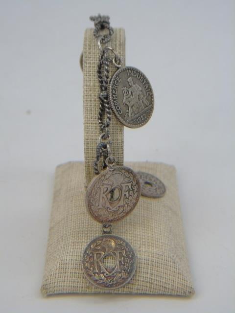 3 Vintage Sterling Silver Charm & Coin Bracelets - 6