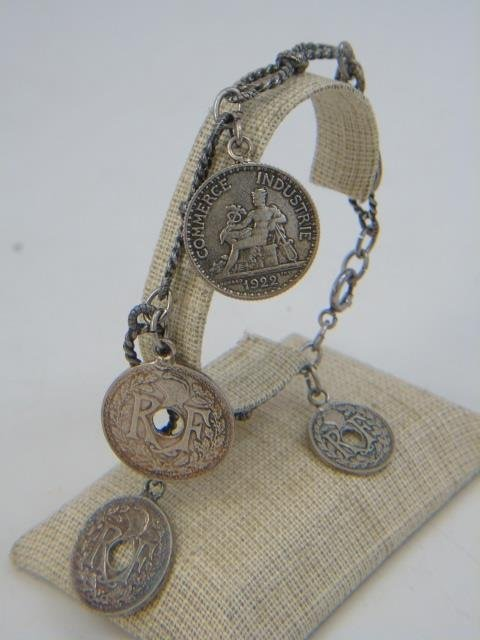 3 Vintage Sterling Silver Charm & Coin Bracelets - 7