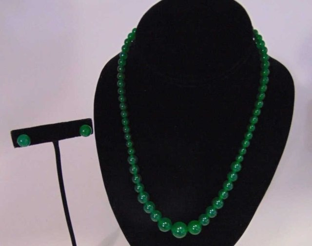 Chinese Graduated Jade Bead Necklace & Earrings