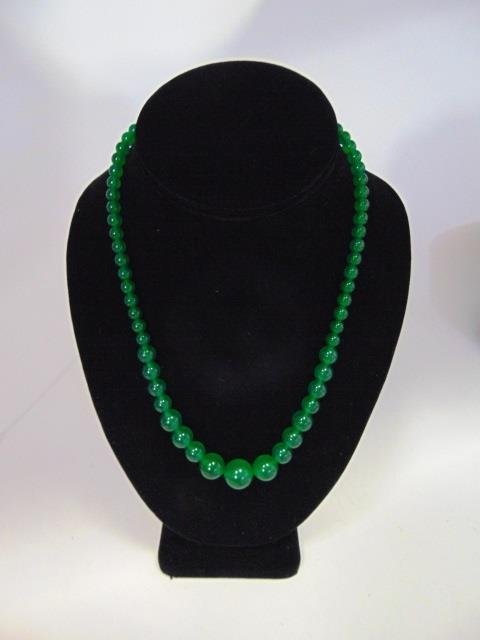 Chinese Graduated Jade Bead Necklace & Earrings - 2