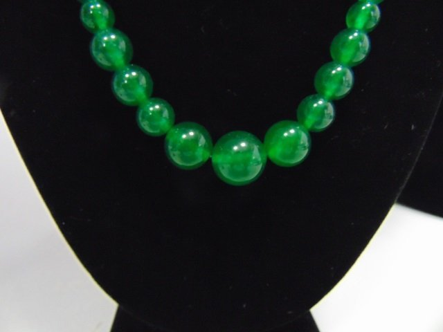 Chinese Graduated Jade Bead Necklace & Earrings - 5