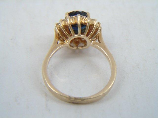 Estate 14kt Yellow Gold Sapphire & Diamond Ring - 3