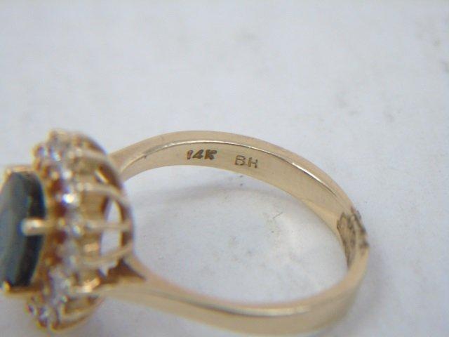 Estate 14kt Yellow Gold Sapphire & Diamond Ring - 4