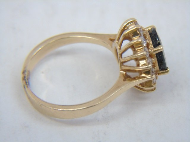 Estate 14kt Yellow Gold Sapphire & Diamond Ring - 6