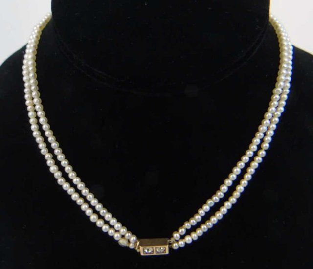 Estate Gold Diamond & Double Pearl Strand Necklace