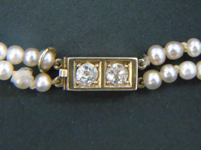 Estate Gold Diamond & Double Pearl Strand Necklace - 2