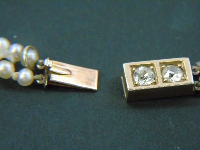 Estate Gold Diamond & Double Pearl Strand Necklace - 3