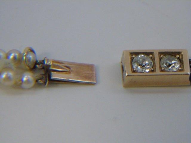Estate Gold Diamond & Double Pearl Strand Necklace - 4