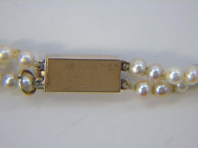 Estate Gold Diamond & Double Pearl Strand Necklace - 5