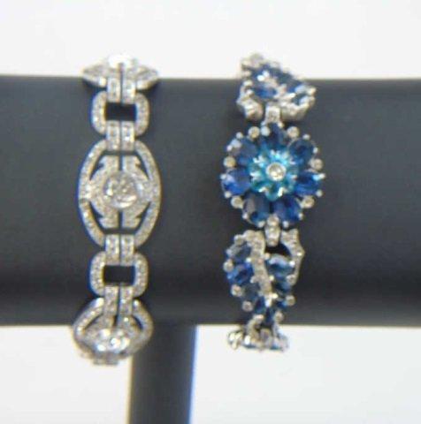 Two Vintage Rhinestone Costume Jewelry Bracelets