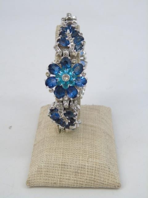 Two Vintage Rhinestone Costume Jewelry Bracelets - 2
