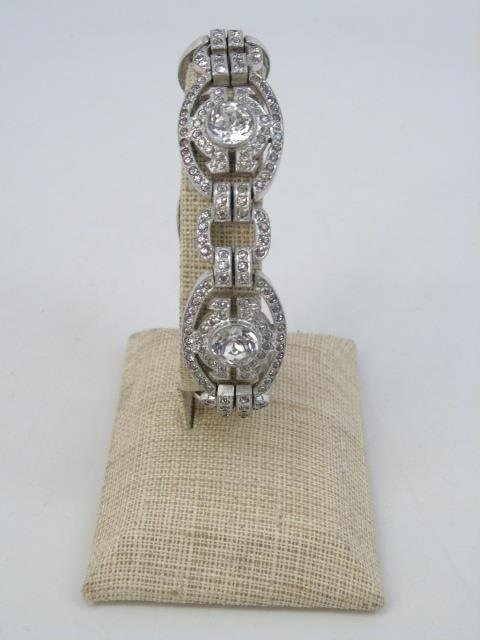 Two Vintage Rhinestone Costume Jewelry Bracelets - 5