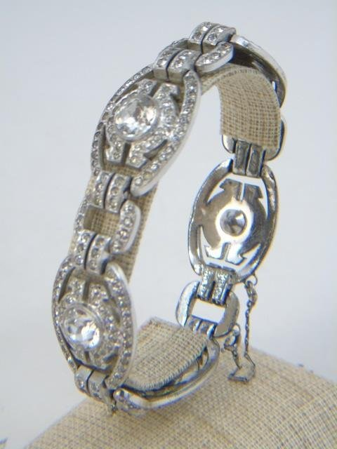 Two Vintage Rhinestone Costume Jewelry Bracelets - 6