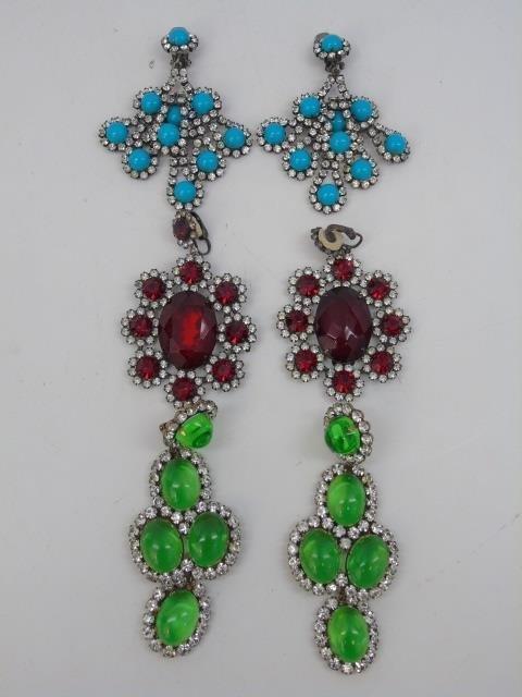 Three Pairs Vintage Kenneth J Lane Earrings