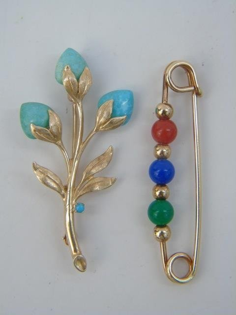 Two Figural Yellow Gold & Stone Brooch Pins