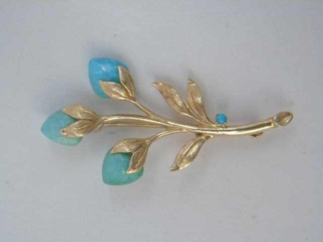 Two Figural Yellow Gold & Stone Brooch Pins - 2