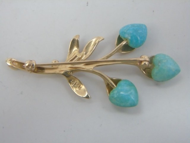 Two Figural Yellow Gold & Stone Brooch Pins - 3