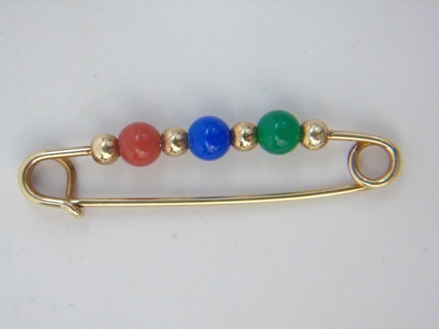 Two Figural Yellow Gold & Stone Brooch Pins - 5