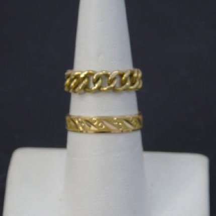 Estate Two Yellow Gold Rings Band & Link Design