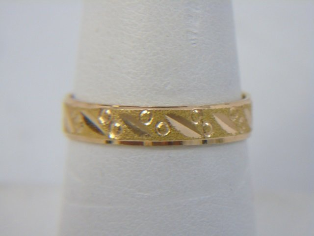 Estate Two Yellow Gold Rings Band & Link Design - 3