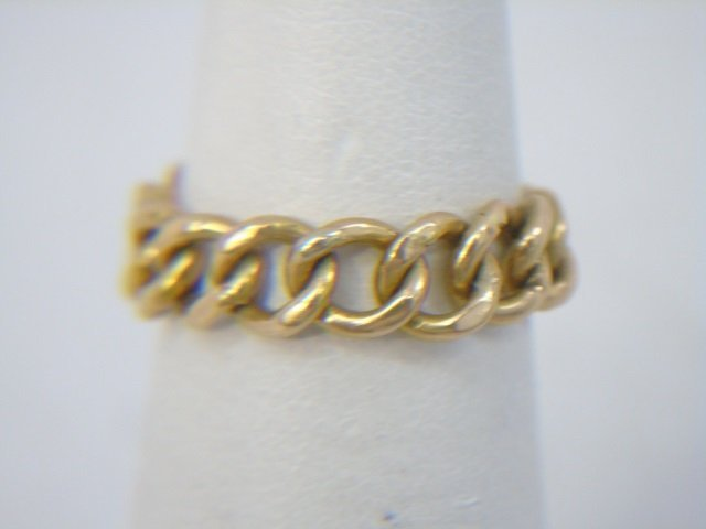 Estate Two Yellow Gold Rings Band & Link Design - 7