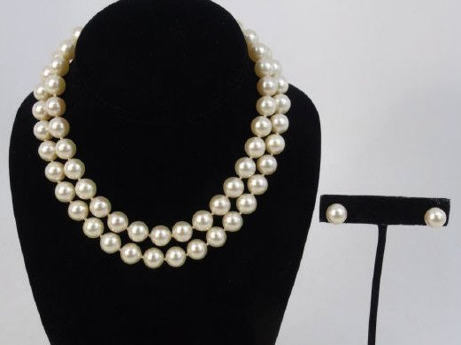 Vintage White Pearl & Sterling Silver Suite