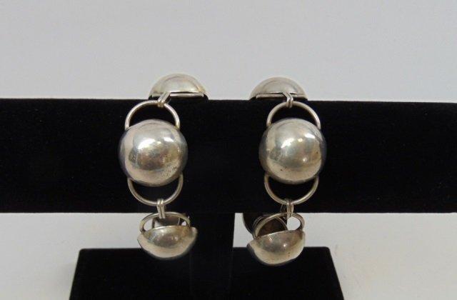 Pair Vintage Modernist Sterling Silver Bracelets