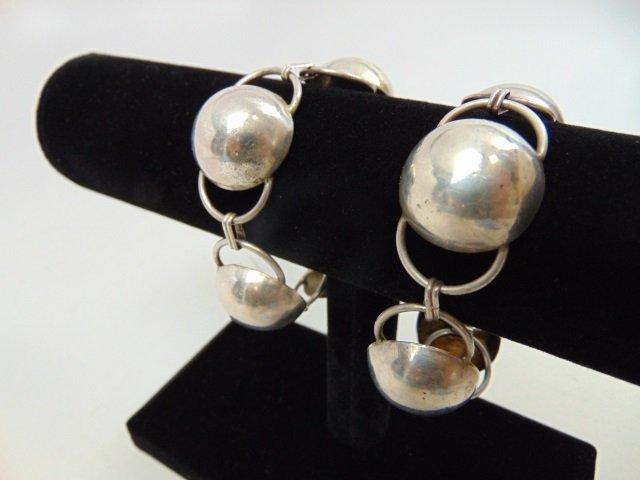 Pair Vintage Modernist Sterling Silver Bracelets - 3