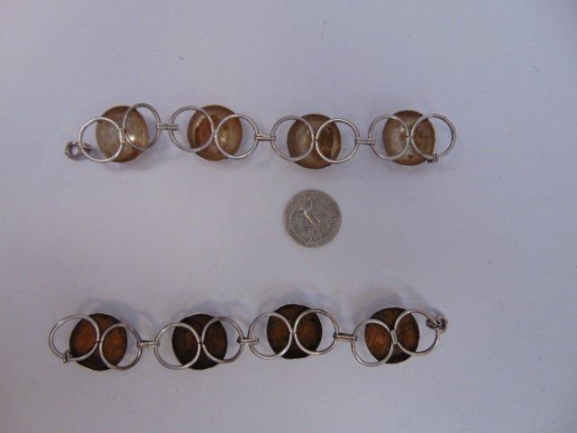 Pair Vintage Modernist Sterling Silver Bracelets - 4